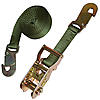 "1"" Olive Drab Heavy Duty Ratchet Strap w/Flat Snap Hooks"