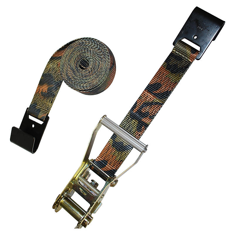 "2"" Camo Ratchet Strap with Flat Hooks - Long Wide Handle"