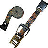 "2"" Camo Ratchet Strap with Flat Hooks - Long Wide Rubber Handle"