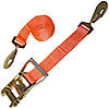 2 inch Orange Custom Ratchet Strap with Twisted Snap Hooks