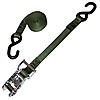 """1"""" Olive Drab Heavy Duty Stainless Ratchet Strap w/S Hooks"""