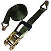 2 inch Olive Drab Custom Rubber Handle Ratchet Strap with Wire Hooks