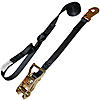 "1"" Black Heavy Duty Ratchet Strap w/Snap Hook, S-Hook, & Loop"