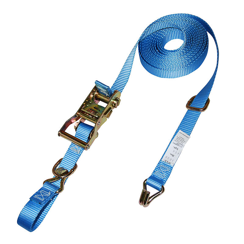 "1"" Blue Heavy Duty Ratchet Strap w/ Wire Hooks & D-Rings"