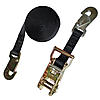 "1"" Black Heavy Duty Ratchet Strap w/Flat Snap Hooks"