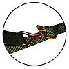 "1"" Olive Drab Heavy Duty Ratchet Strap w/ Wire Hooks & D-Rings Closeup"