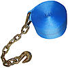 4 inch Blue Winch Strap with Chain and Hook | RatchetStrapsUSA