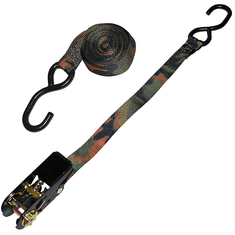 1 inch Custom Camo Ratchet Strap with S Hooks