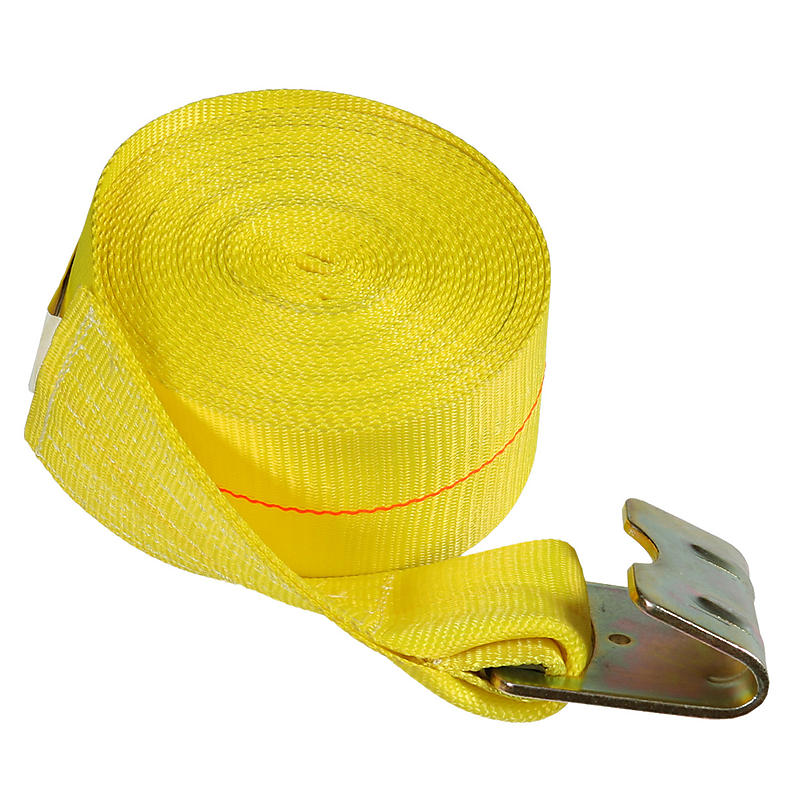 "4"" x 27' Yellow Winch Strap with Flat Hook | RatchetStrapsUSA"
