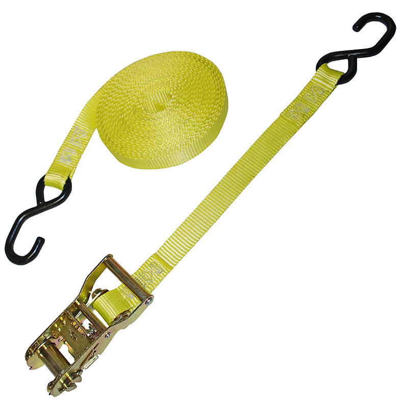 "1"" Yellow Heavy Duty Ratchet Strap w/ S-Hook"