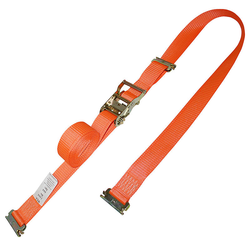 2 inch Orange Electronics Ratchet Strap with E Track Fittings | RatchetStrapsUSA