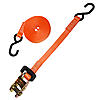 "1"" Heavy Duty Rubber Handle Ratchet Strap w/ S-Hooks"