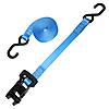 "1"" Blue Heavy Duty Black Rubber Handle Ratchet Strap w/ S-Hooks"