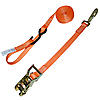"1"" Orange Heavy Duty Ratchet Strap w/Snap Hook, S-Hook, & Loop"