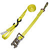 "1"" Yellow Heavy Duty Ratchet Strap w/Snap Hook, S-Hook, & Loop"