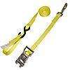 """1"""" Yellow Heavy Duty Ratchet Strap w/Snap Hook, S-Hook, & Loop"""