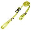 "1"" Yellow Heavy Duty Stainless Steel Ratchet Strap w/ Wire Hooks & D-Rings"