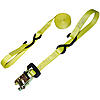 "1"" Yellow Heavy Duty Ratchet Strap w/ Vinyl S-Hook & Soft Loop w/ Rubber Handle Ratchet"