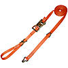 "1"" Orange Heavy Duty Ratchet Strap w/ Wire Hooks & D-Rings"