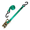 "1"" Ratchet Strap with S-Hooks Green with Gold Handle"