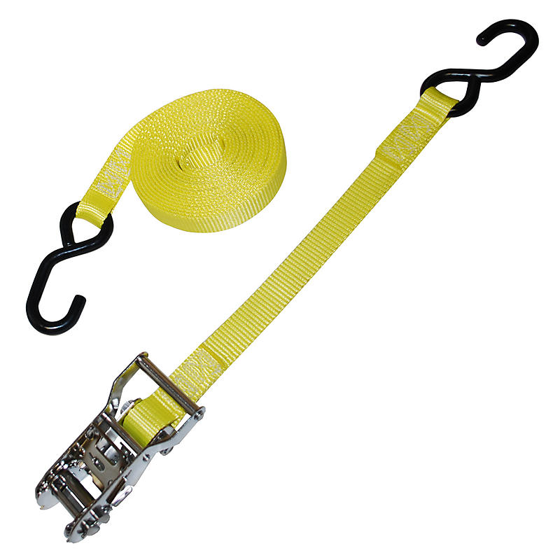 "1"" Yellow Heavy Duty Stainless Ratchet Strap w/S Hooks"