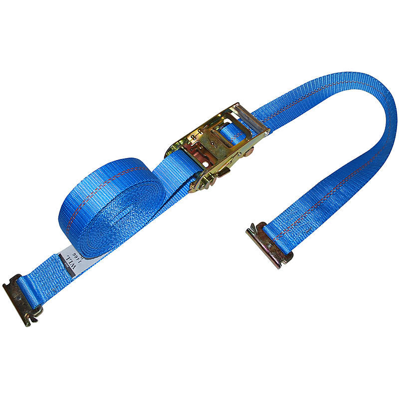 2 inch Heavy Duty Ratchet Strap with E Track Fittings Blue