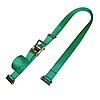 2 inch Green Electronics Ratchet Strap with E Track Fittings | RatchetStrapsUSA