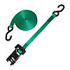 "1"" Ratchet Strap with S-Hooks Green with Rubber Handle"