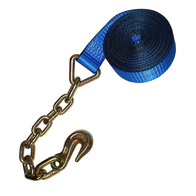 "2"" Blue Custom USA Winch Strap with Chain and Hook"