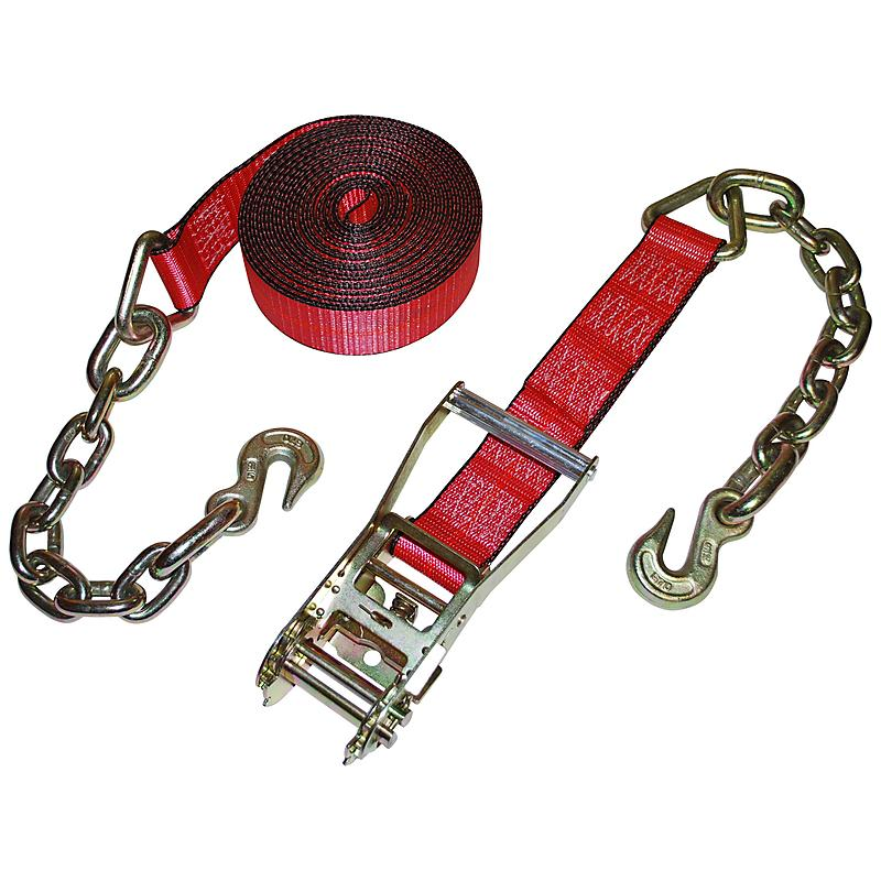 "2"" Red Custom USA Ratchet Strap with Chain and Hooks"