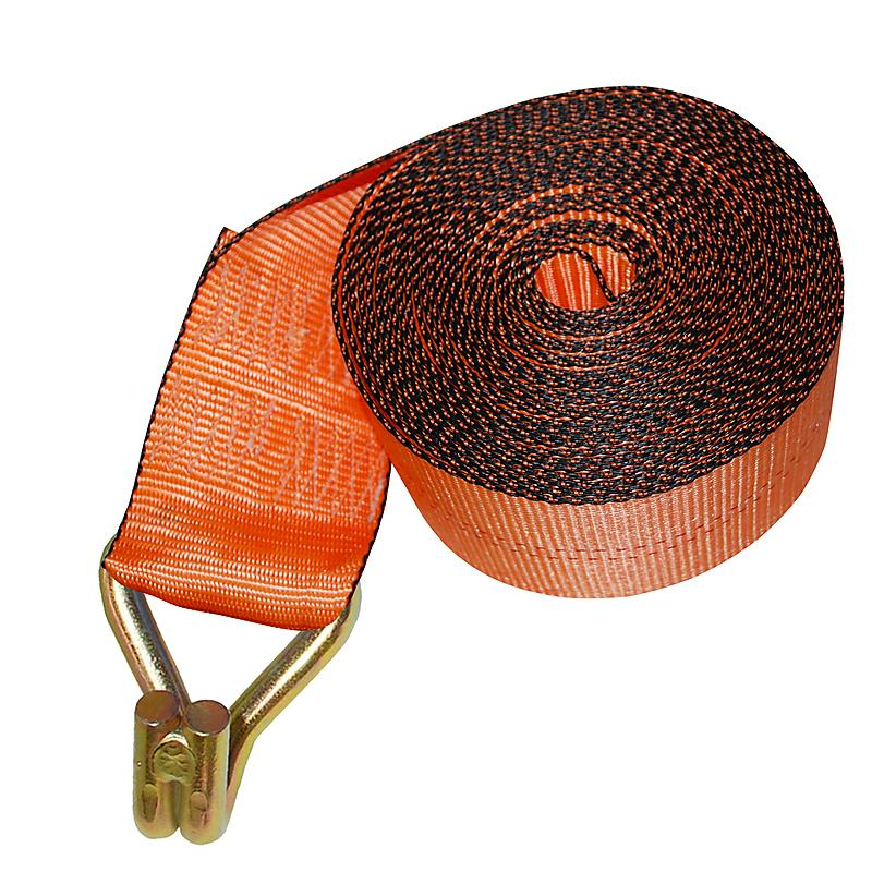 "4"" Orange Custom Winch Strap with Wire Hook and Edge Protector"