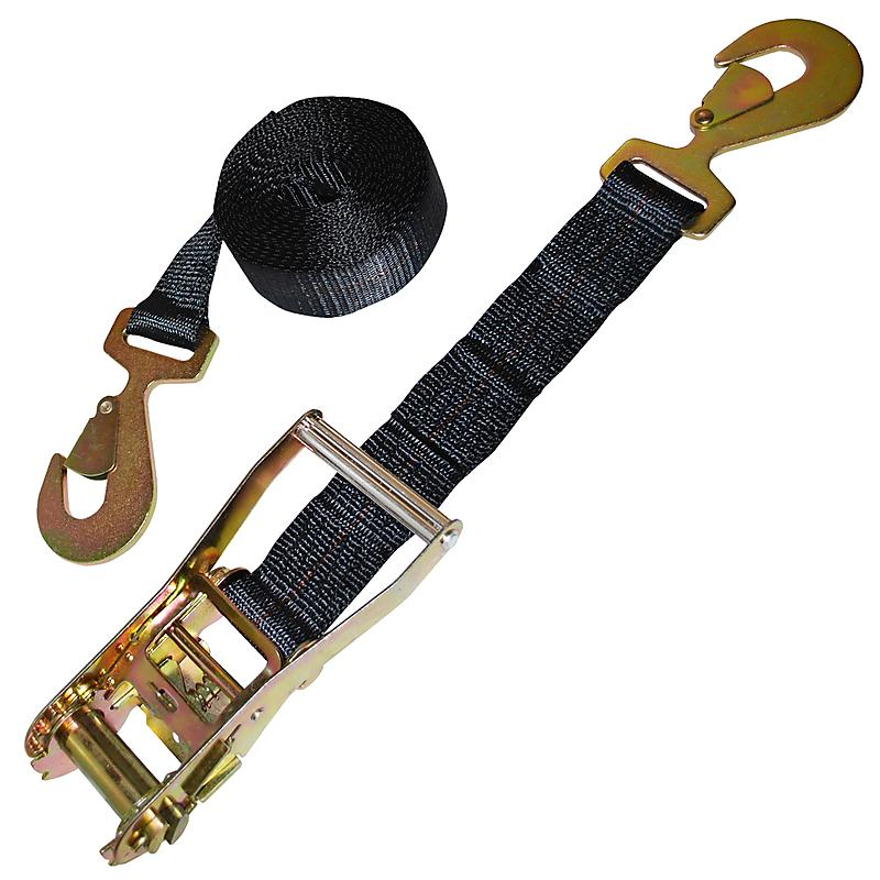 "2"" Black Custom Ratchet Strap with HD Flat Snap Hooks"