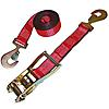 2 inch Red Custom USA Made Ratchet Strap With Heavy Duty Flat Snap Hooks