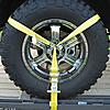 2 inch Lasso Strap with O Ring Yellow around a tire