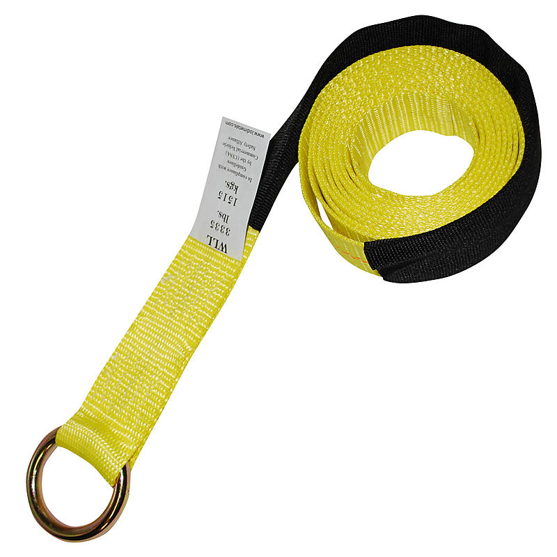 2 inch Lasso Strap with O-Ring with Cordura Sleeve YELLOW