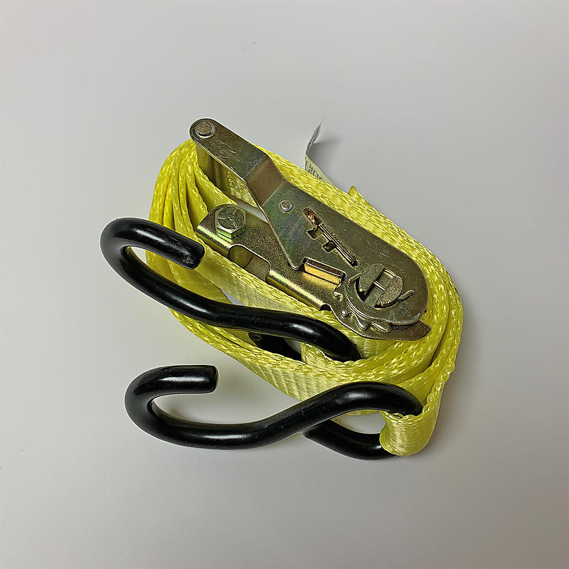 """1"""" x 10' Heavy Duty Ratchet Strap with S-Hooks - Yellow"""