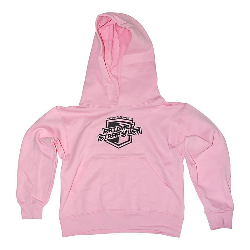 Ratchet Straps USA Logo Pink Colored Hoodie in Youth Sizes