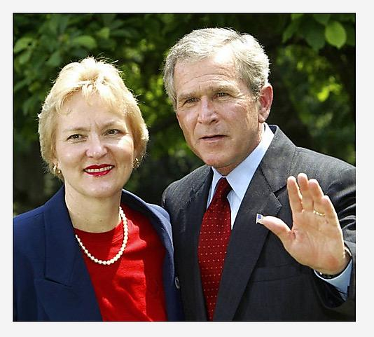Linda Reksten with President Bush