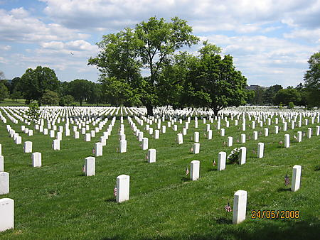 Rolling Thunder 2008 Wash DC The sea of the many graves at Arlington Cemetery of the soliders that gave their lives for our freedom