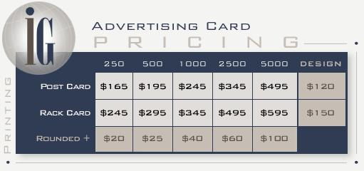 ad card pricing