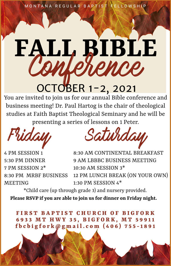2021 Annual Bible Conference Schedule
