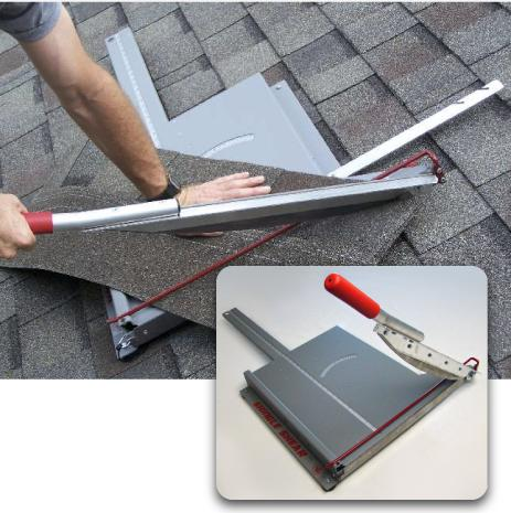 The Shingle Shear cuts time and cost in cutting asphalt shingles