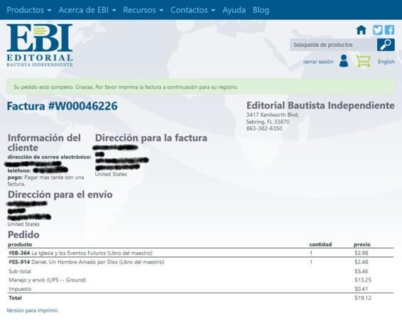 Website invoice Spanish