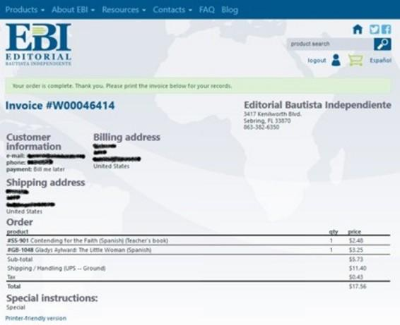 Website invoice English