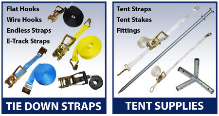 tiedown straps and tent supplies