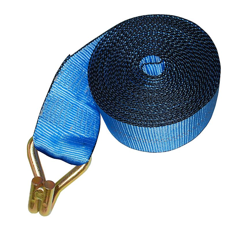 "4"" Blue Winch Strap w/ Wire Hook and Edge Protection"