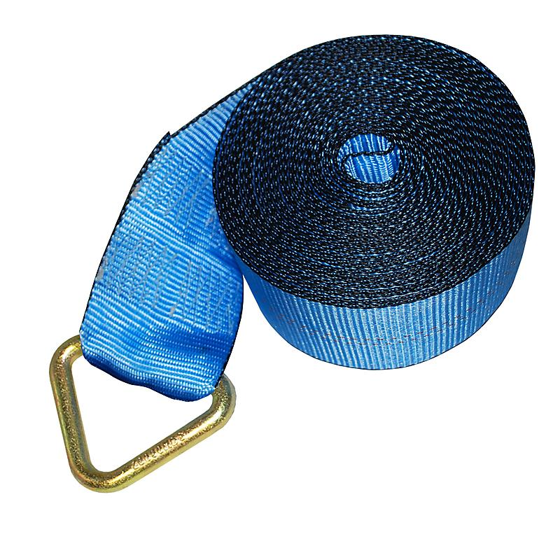 "4"" Blue Winch Strap w/ Delta Ring and Edge Protection"