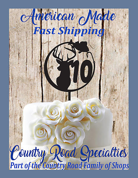 Awe Inspiring T2 Hunting And Fishing Buck And Fish With Number Anniversary Funny Birthday Cards Online Eattedamsfinfo
