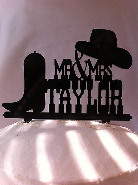 T1 Rustic Country Western Hat And Boot Custom Name Wedding
