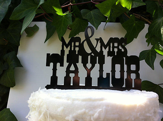 T1 - Rustic Country Western Font Custom Name Wedding Cake Topper ...